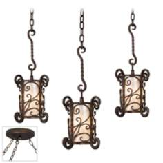 Natural Mica Bronze Triple Swag Chandelier