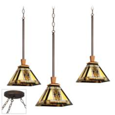 Walnut Mission Bronze Triple Swag Chandelier