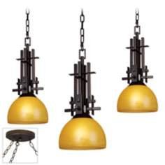 Metro Bronze Triple Swag Chandelier