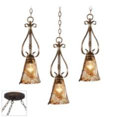 Amber Scroll Bronze Triple Swag Chandelier