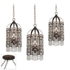 Antique Gold with Crystal Bronze Triple Swag Chandelier