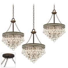 Regina Crystal Bronze Triple Swag Chandelier