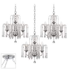 Crystal Rain Chrome Triple Swag Chandelier