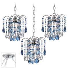 Nicolli Blue Crystal Chrome Triple Swag Chandelier