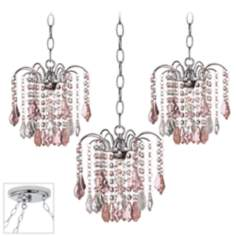 Nicolli Pink Crystal Chrome Triple Swag Chandelier