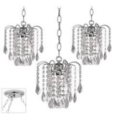 Nicolli Clear Crystal Chrome Triple Swag Chandelier