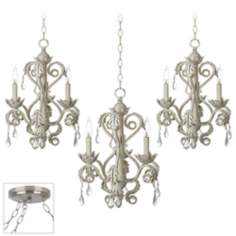 Kathy Ireland Crystal Brushed Steel Triple Swag Chandelier