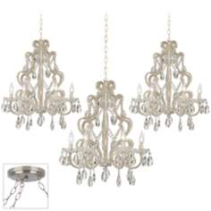 Felician Brushed Steel Triple Swag Chandelier