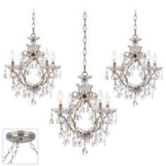 Eyja Crystal Brushed Steel Triple Swag Chandelier
