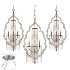 Scalloped Teardrop Brushed Steel Triple Swag Chandelier