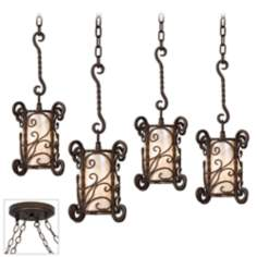 Natural Mica Bronze 4 Swag Chandelier