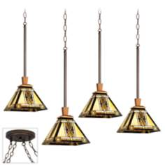 Walnut Mission Bronze 4 Swag Chandelier