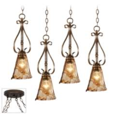 Amber Scroll Bronze 4 Swag Chandelier