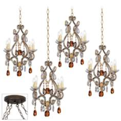 Leila Gold and Bronze 4 Swag Chandelier