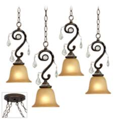 Kathy Ireland Rama de Luces Bronze 4 Swag Chandelier