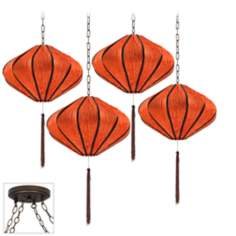 Song Orange Bronze 4 Swag Chandelier