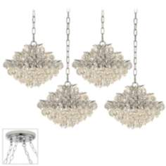 Chrome Crystal Brushed Steel 4 Swag Chandelier