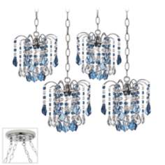 Nicolli Blue Crystal Chrome 4 Swag Chandelier