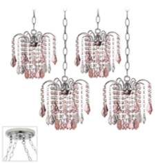 Nicolli Pink Crystal Chrome 4 Swag Chandelier
