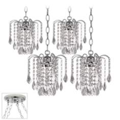 Nicolli Clear Crystal Chrome 4 Swag Chandelier