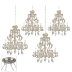 Felician Brushed Steel 4 Swag Chandelier