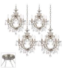 Eyja Crystal Brushed Steel 4 Swag Chandelier