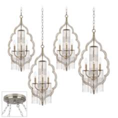 Scalloped Teardrop Brushed Steel 4 Swag Chandelier