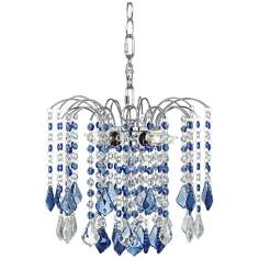 "Nicolli Blue Crystal 12"" Wide Swag Plug-In Chandelier"