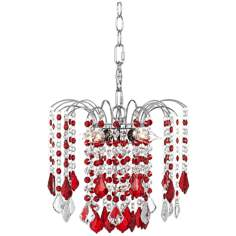 "Nicolli Red Crystal 12"" Wide Swag Plug-In Chandelier"