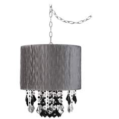 "Nicolli Black 15"" Wide Morell Silver Mini Chandelier"