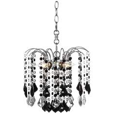 "Nicolli Black Crystal 12"" Wide Swag Plug-In Chandelier"