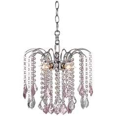 "Nicolli Pink Crystal 12"" Wide Swag Plug-In Chandelier"