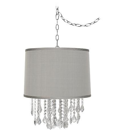"Nicolli Clear 16"" Wide Platinum Gray Mini Chandelier"