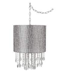 "Nicolli Clear 14"" Wide Silver Lines Mini Chandelier"