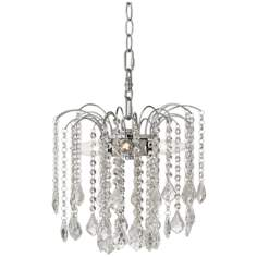 "Nicolli Clear Crystal 12"" Wide Swag Plug-In Chandelier"