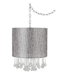 "Beatrix Crystal 14"" Wide Silver Lines Mini Chandelier"