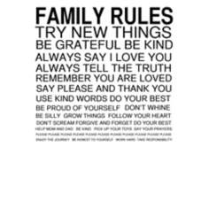 "Family Rules Black on White 30"" High Motivational Wall Art"