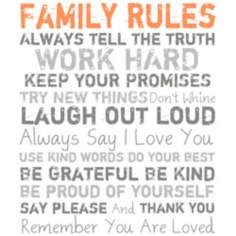 "Family Rules Orange 20"" High Motivational Wall Art"
