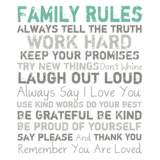 "Family Rules Blue 20"" High Motivational Wall Art"