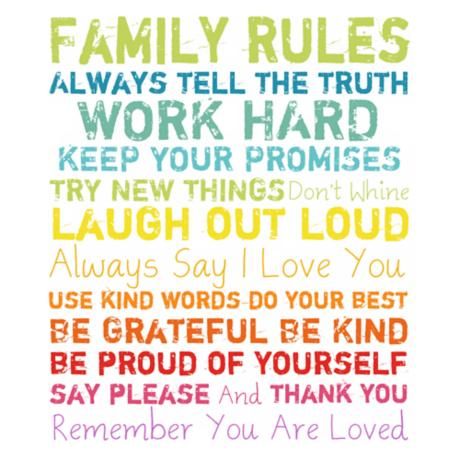 "Family Rules Multi-Color 20"" High Motivational Wall Art"