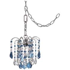 "Nicolli Blue Crystal 8"" Wide Swag Plug-In Mini Chandelier"