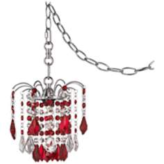 "Nicolli Red Crystal 8"" Wide Swag Plug-In Mini Chandelier"