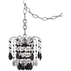 "Nicolli Black Crystal 8"" Wide Swag Plug-In Mini Chandelier"