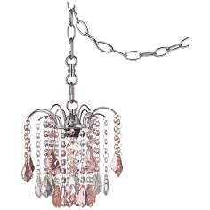 "Nicolli Pink Crystal 8"" Wide Swag Plug-In Mini Chandelier"