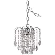 "Nicolli Clear Crystal 8"" Wide Swag Plug-In Mini Chandelier"