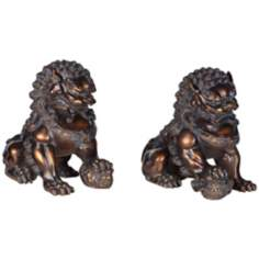 Set of 2 Large Bronze Asian Foo Dog Sculptures