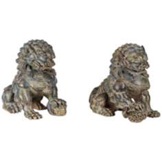 Set of 2 Large Aeneous Verde Asian Foo Dog Sculptures