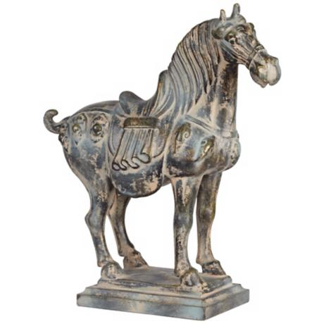 Aged Verde Traditional Chinese Horse Sculpture