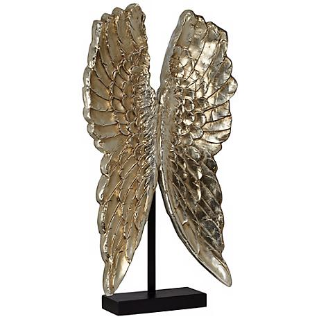 "Gold Leaf 42 1/2"" High Angel Wings Sculpture On Stand"