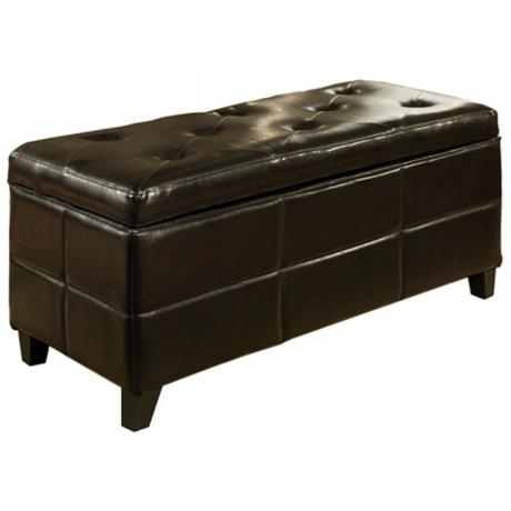 Cayman Leather Espresso Storage Ottoman